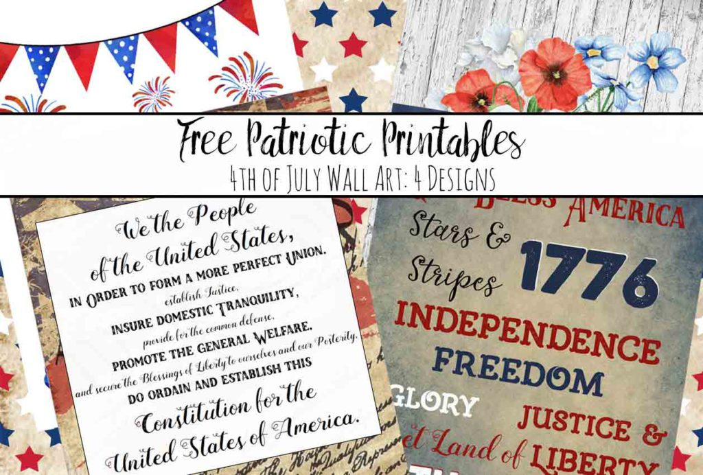 Free Printable Fourth of July Wall Art: 4 Designs. Free patriotic printables. Celebrate the fourth with free printable wall art.