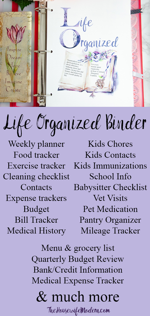 Life Organized Binder. 100+ pages and printables to help you organize your entire life. #organize #planner #binder #lifeorganized