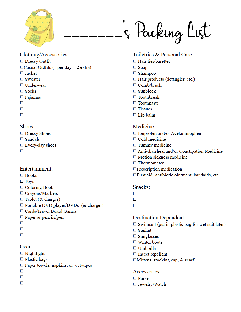Free Printable Travel Packing List for School Age Children. A free printable checklist of the all the essentials you need for traveling with a child.