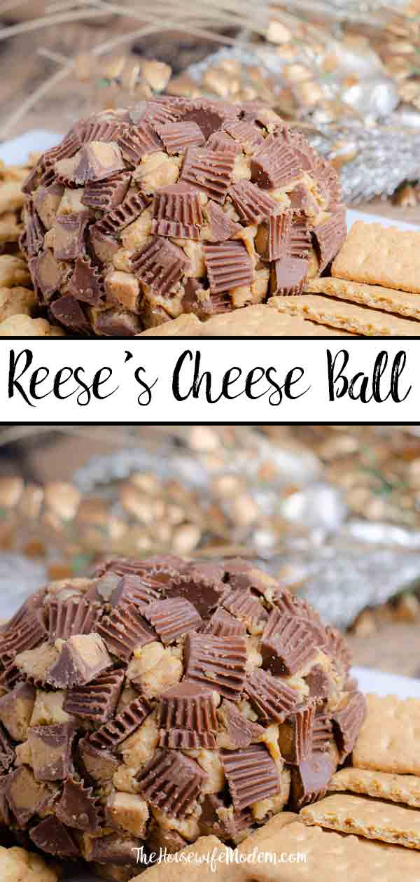 Reese's Peanut Butter Cup Cheese Ball. This to-die-for dessert (or appetizer!) is easy to make and absolutely delicious. I always catch at least one guest eating it with a spoon instead of on the graham crackers. #reeses #reesescup #peanut butter #appetizer #dessert