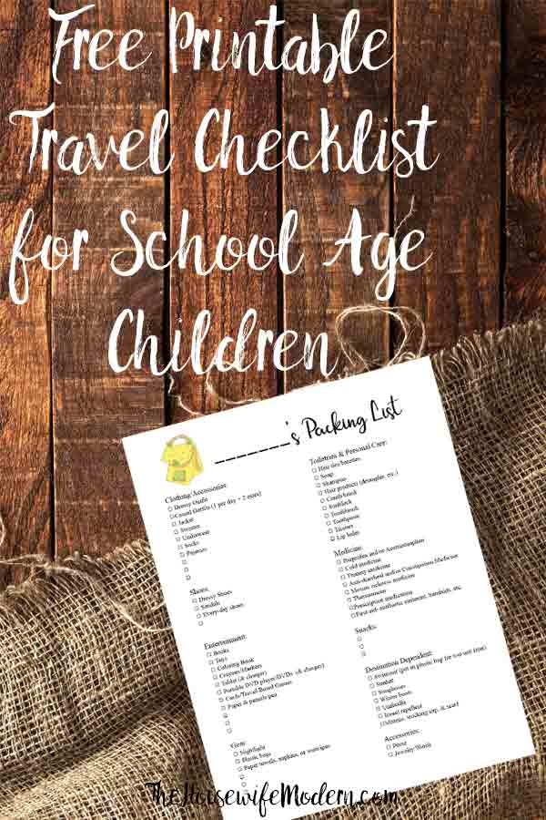 Free Printable Travel Packing List for School Age Children. A free printable checklist of the all the essentials you need for traveling with a child. #travel #packlist #packinglist #traveling #kids