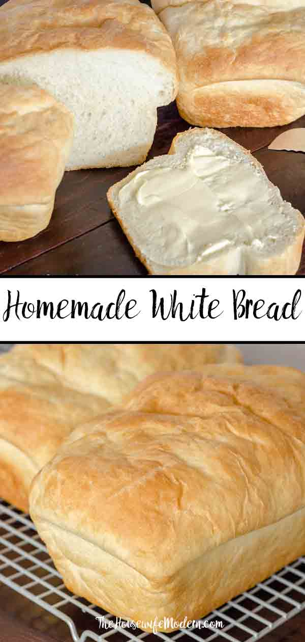 Perfect Traditional Homemade White Bread (and it works for sandwiches). Save money by making your own bread...and it tastes better! Step-by-step pictures and descriptions. #whitebread #bread #homemade