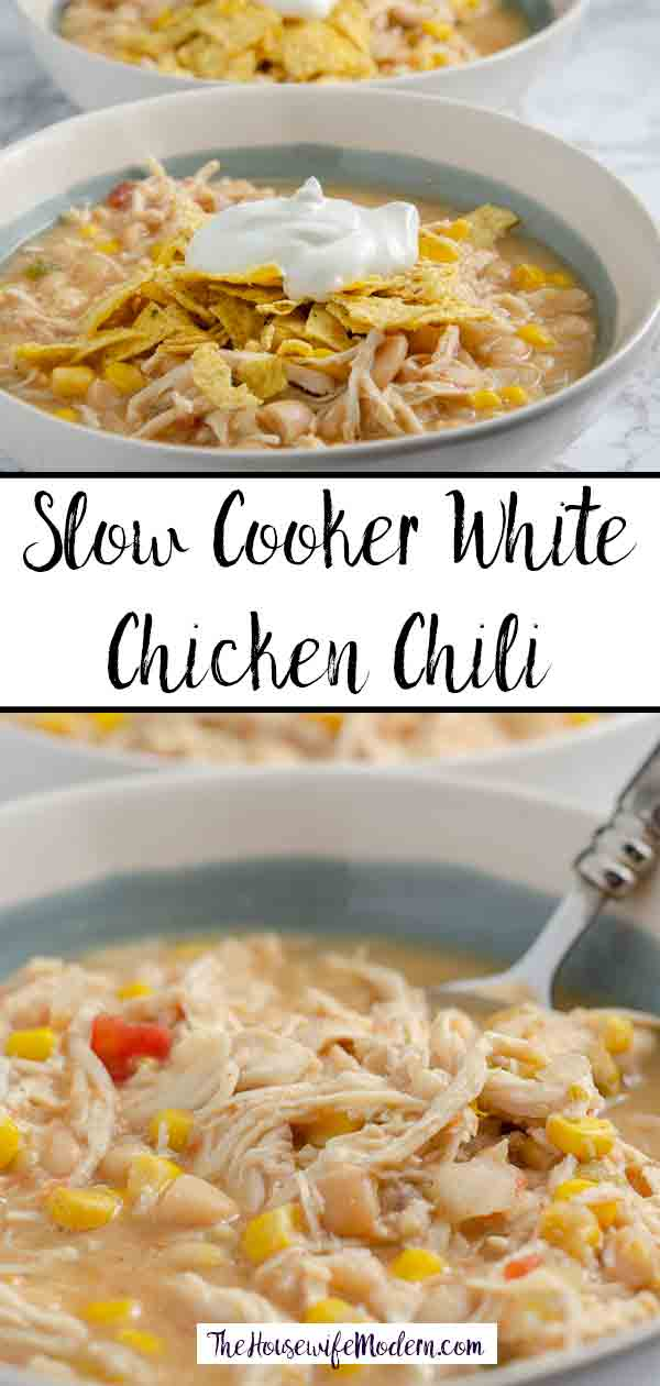 Slow Cooker White Chicken Chili. Delicious, easy white chicken chili. I always make a double batch and freeze half! Fabulous freezer meal. #soup #chili #chicken #slowcooker #freezermeal
