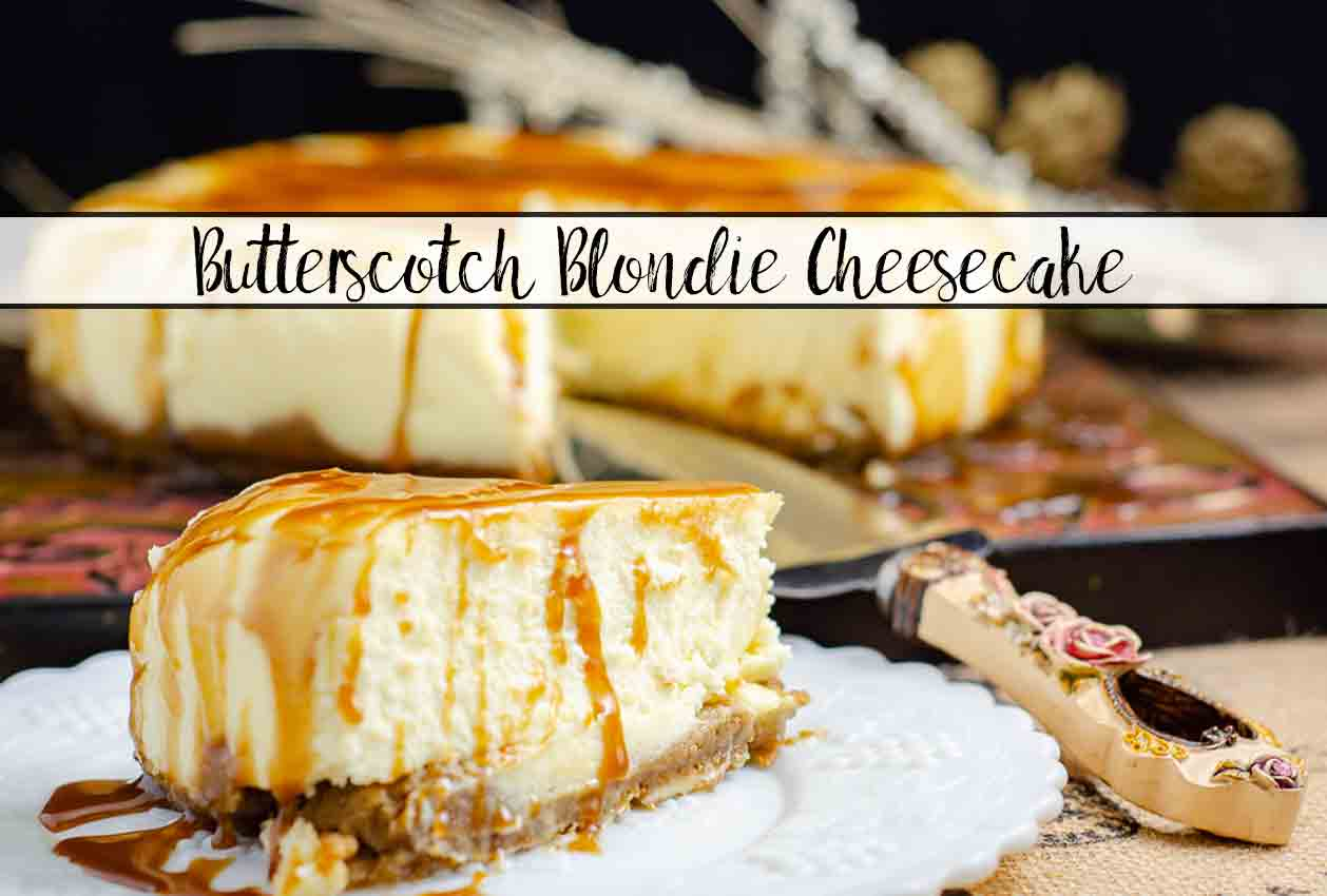 Butterscotch Blondie Cheesecake. Blondie crust, delicious to-die-for cheesecake, salted bourbon butterscotch sauce. This amazing dessert is one-of-a-kind.