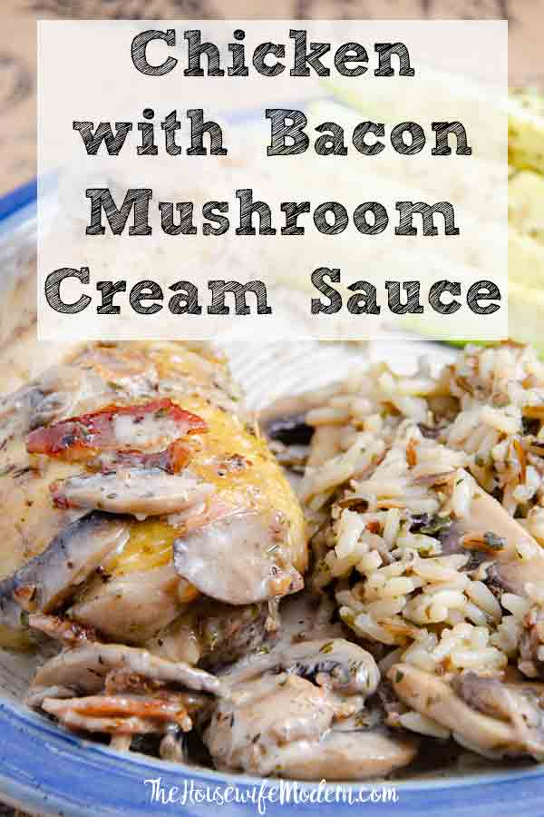 Chicken with Bacon Mushroom Cream Sauce and Wild Rice. Juicy chicken, crispy skin, bacon, mushrooms, and cream sauce combine into a delicious dinner. #chicken #dinner #bacon #mushrooms