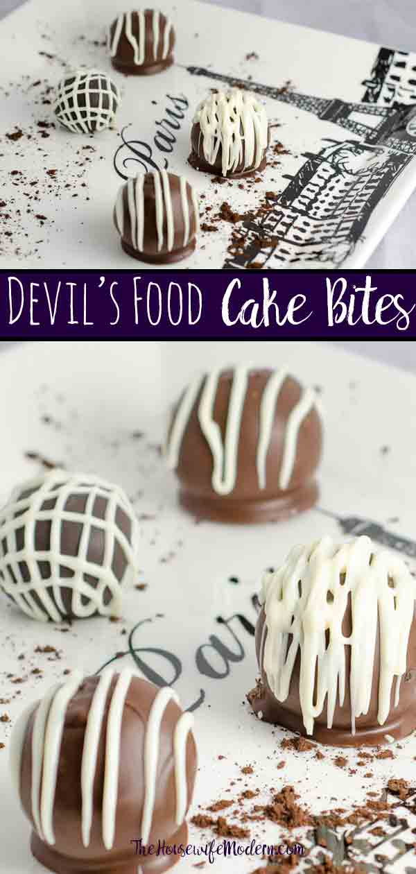 Luscious Devil's Food Cake Cake Bites. Devil's food cake, special dark frosting, Ghirardelli chocolate wafers combine into bite-sized desserts. #chocolate #cake #cakebites #dessert #sweets