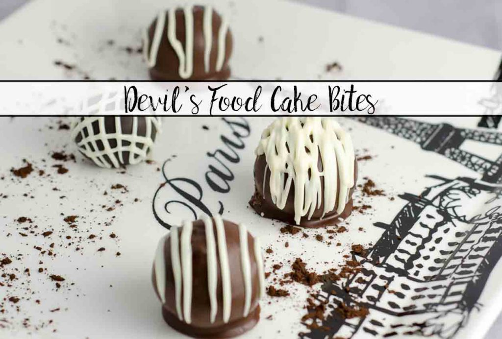 Luscious Devil's Food Cake Cake Bites. Devil's food cake, special dark frosting, Ghirardelli chocolate wafers combine into bite-sized desserts.