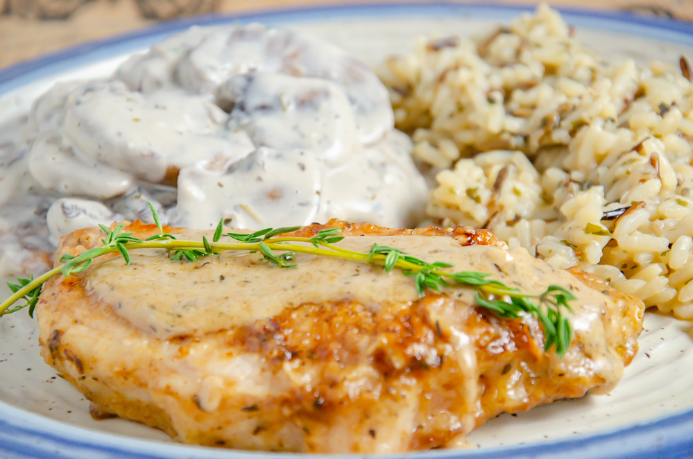 Thyme Pork Chops with Cream Pan Sauce. Elegant dinner, but easy to make. Stove-top recipe (no oven required!).