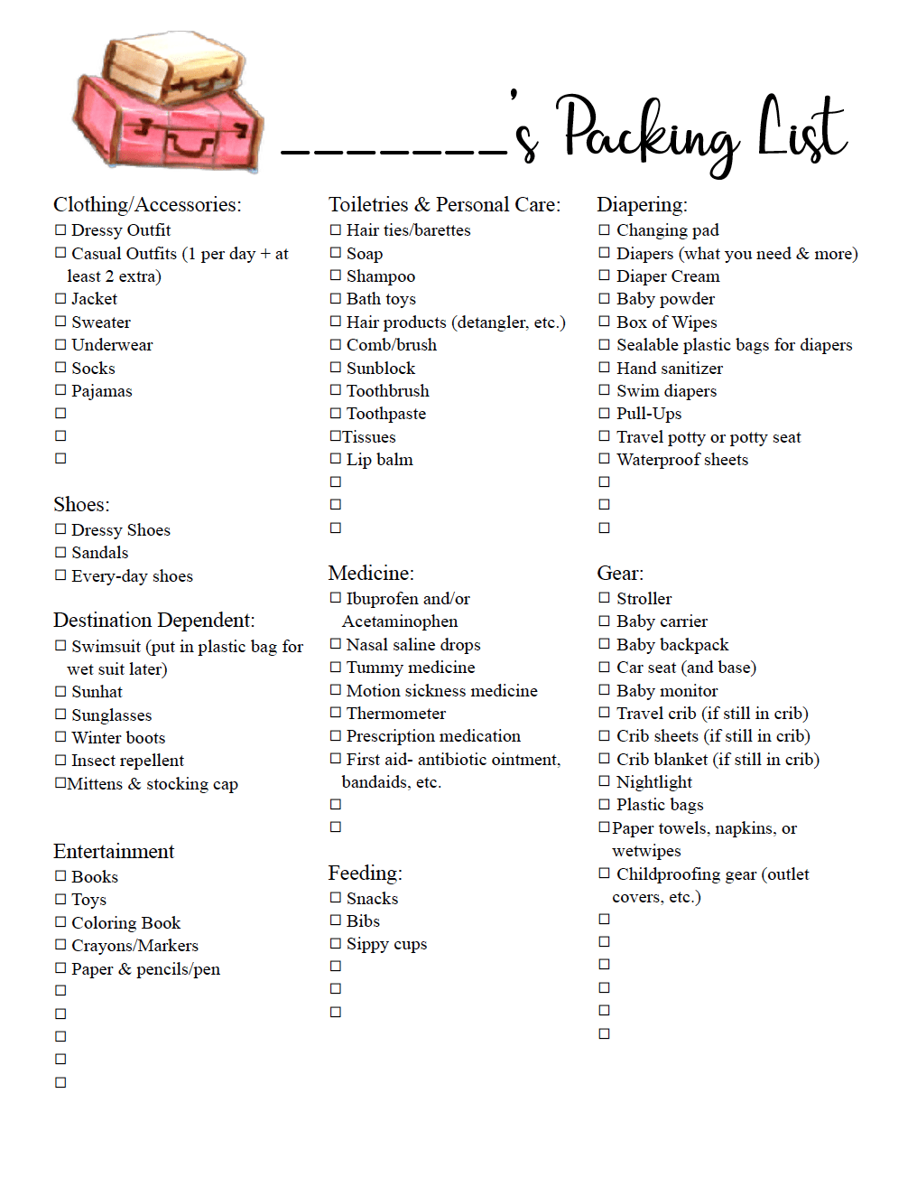 Free Printable Travel Packing List for Toddlers. A free printable checklist of the all the essentials you need for traveling with a toddler. #travel #packlist #packinglist #traveling #toddler