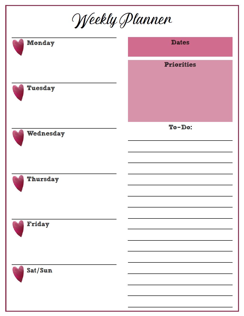 Free Simple Weekly Planner Printable Free Printable