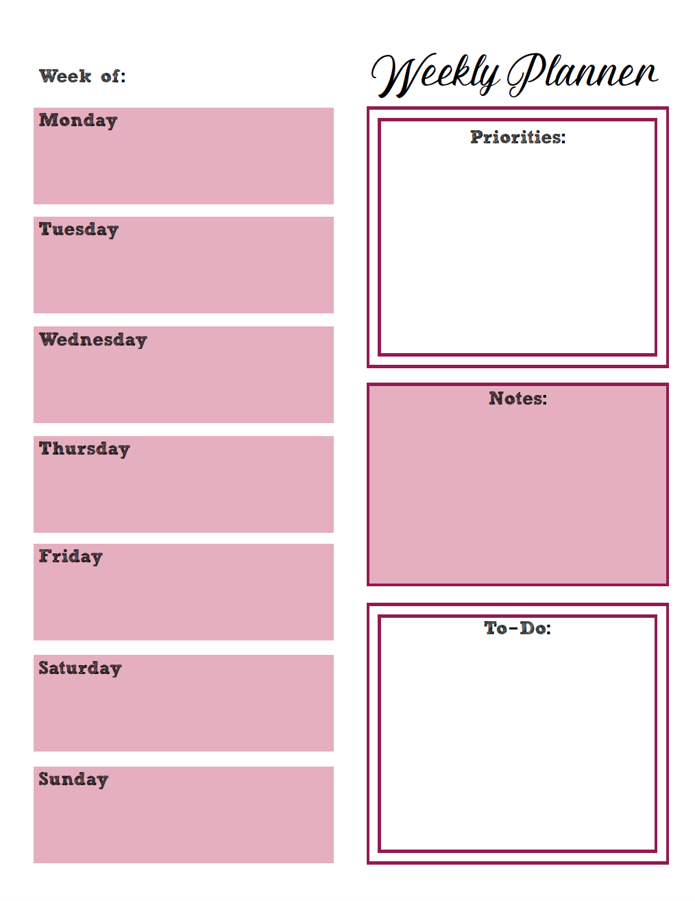 Free Printable Weekly Planners: Monday Start. 4 Designs. Monday to Sunday free printable weekly planners. #planner #planners #freeplanner #printable #freeprintable