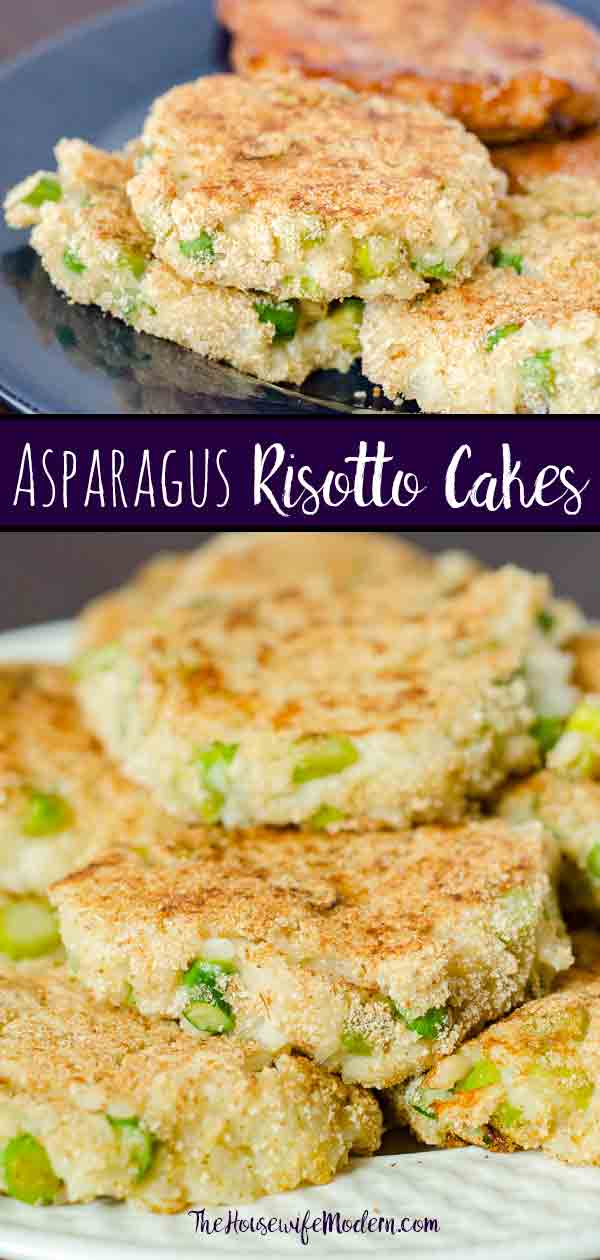 Asparagus Risotto Cakes: flavorsome, taste of asparagus, creaminess of risotto, light crispness from griddle. If you thought you hated asparagus, give it another try. #asparagus #risotta #appetizer #sidedish