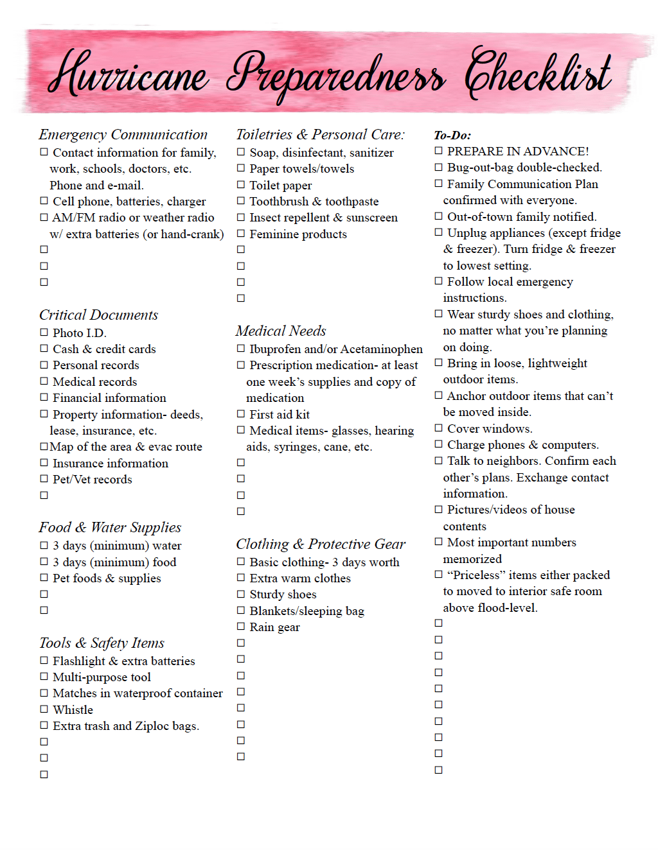 Free Printable Hurricane Preparedness Checklist. And emergency preparedness tips. What you need to do to prepare for a hurricane. #free #printable #hurricane #hurricaneprepare #hurricanepreparedness