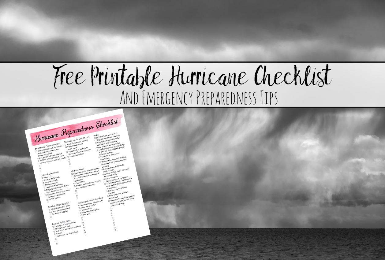 Free Printable Hurricane Preparedness Checklist. And emergency preparedness tips. What you need to do to prepare for a hurricane.
