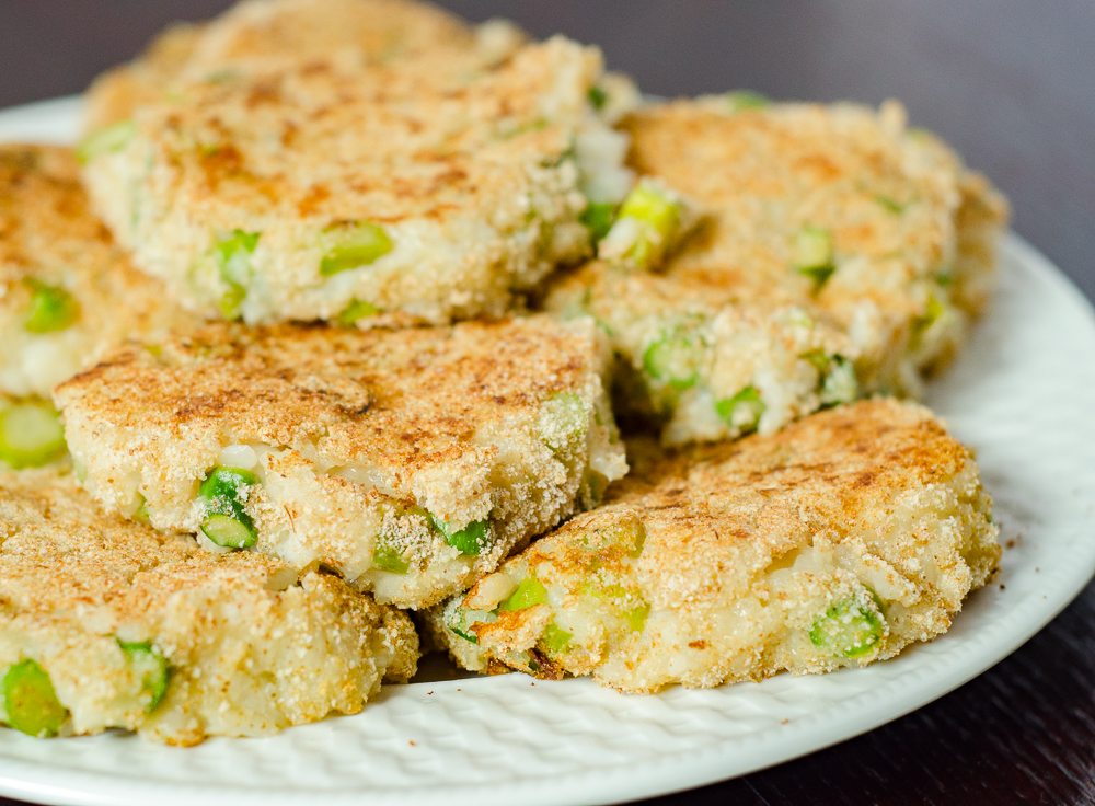 Asparagus Risotto Cakes: flavorsome, taste of asparagus, creaminess of risotto, light crispness from griddle. If you thought you hated asparagus, give it another try.