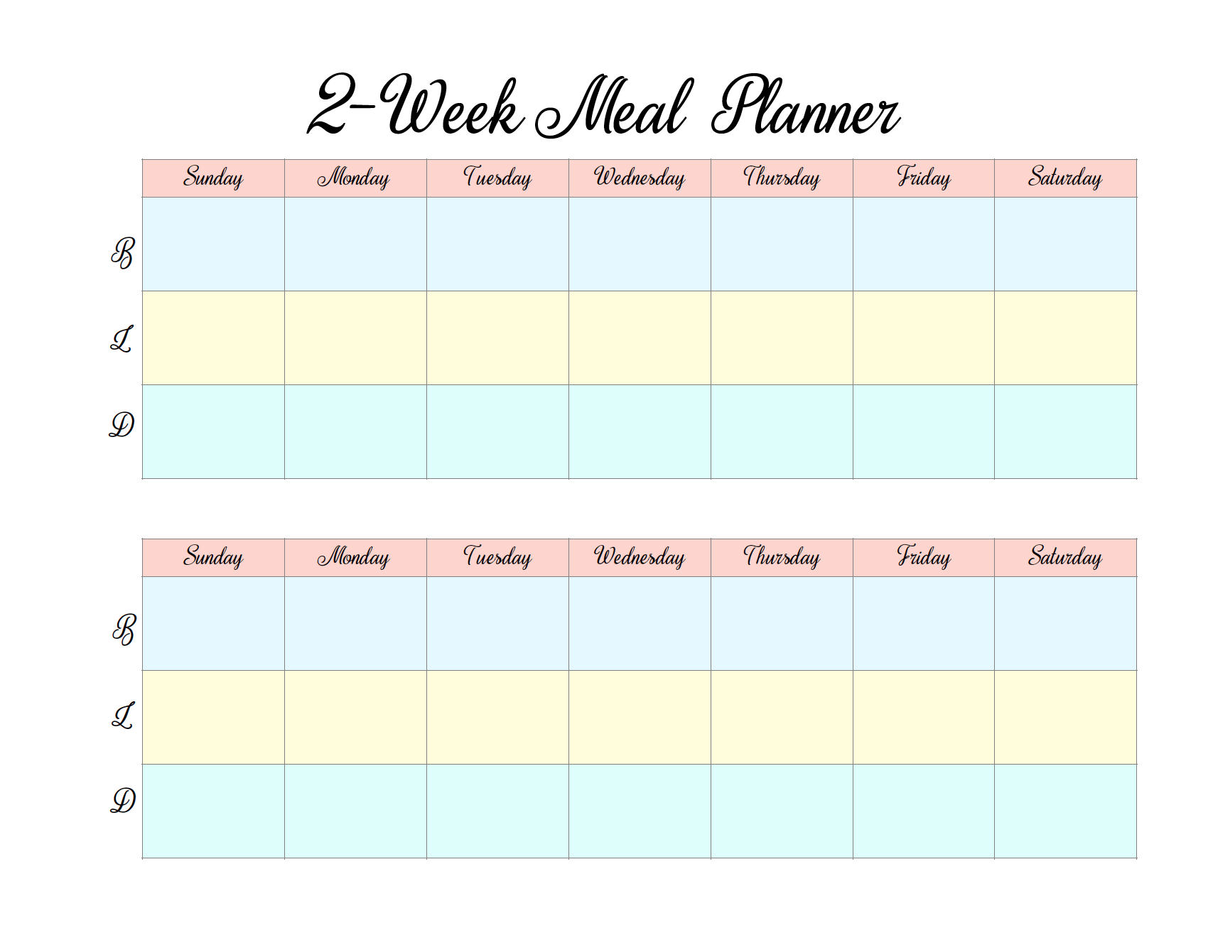 Free Printable 2-week Meal Planners: 4 different designs. Save time and money by meal planning! #free #freeprintable #meal #mealplanner