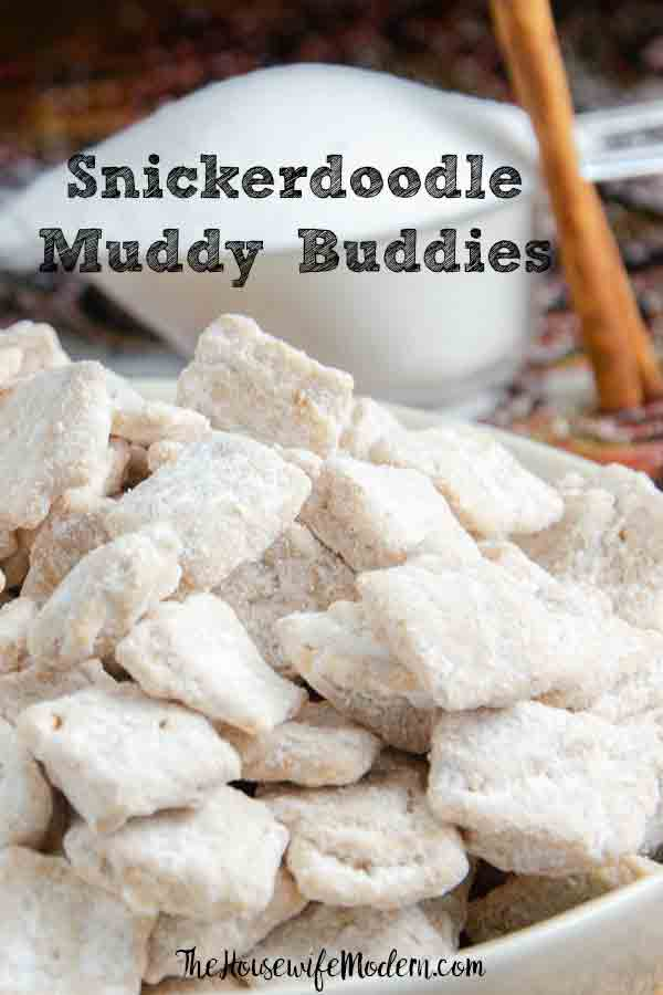 Snickerdoodle Muddy Buddies. This sugar and cinnamon treat is quick and easy. Snickerdoodle Puppy Chow is great for snacks, gifts, or the midnight munchies! #muddybuddies #puppychow #snickerdoodle
