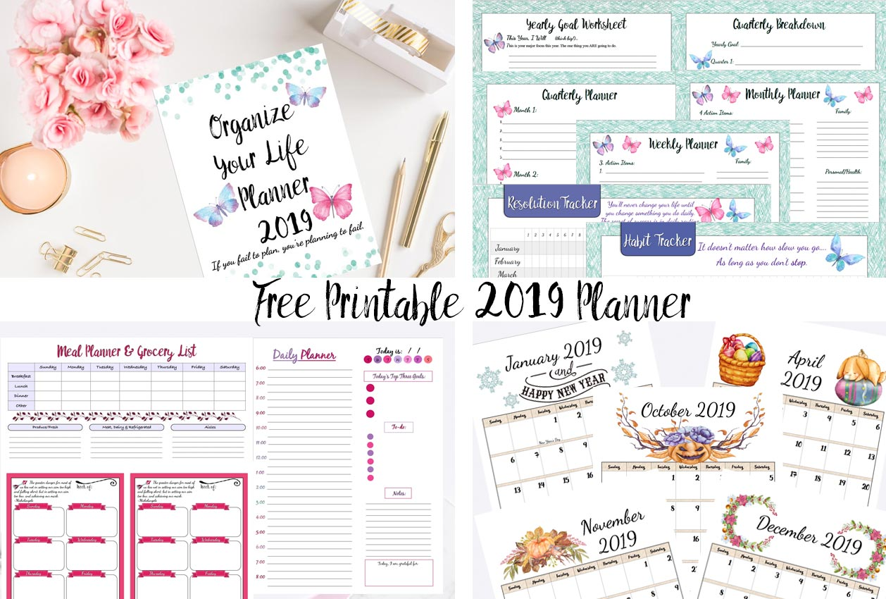 photograph about Free Printable Planners called Cost-free Printable 2019 Planner: Objectives Planner, 2019 Calendars