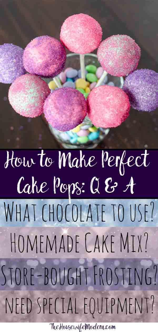 Answers to all your cake pop questions. What cake to use. What frosting to use. How to melt the chocolate. What chocolate to use. How to dip. How to decorate. #cakepop #cakebite #howto
