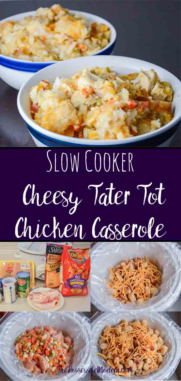 Cheesy Chicken Tater Tot Casserole: An Easy Slow-Cooker Meal. Delicious, satisfying casserole that you won't feel guilty making. #casserole #slowcooker #cheese #chicken #tatertot