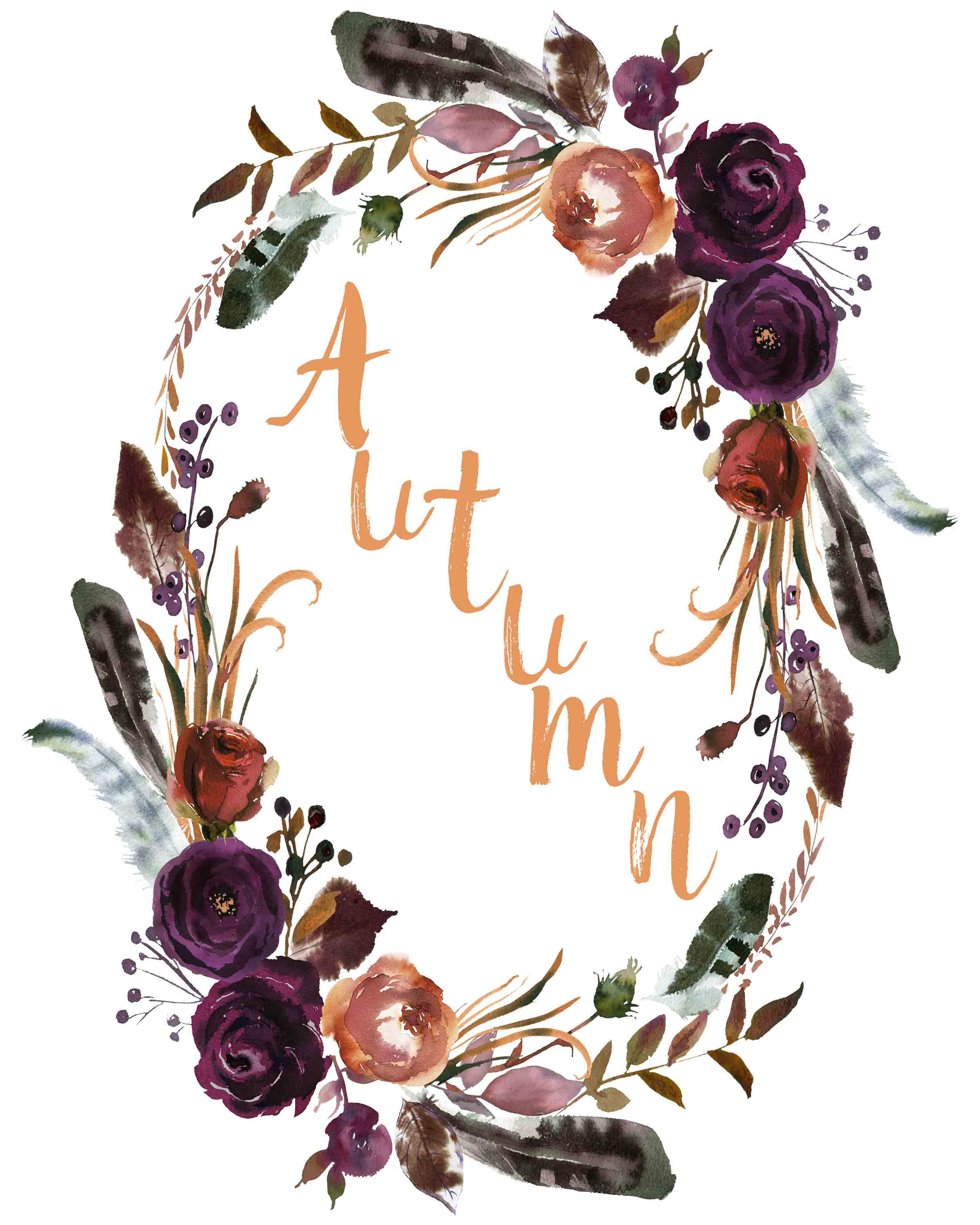 Autumn in wreath free printable. Free Printable Fall Wall Art. 3 free fall wall art printable designs to decorate your home or office. Celebrate autumn! #free #printable #freeprintable #fall #autumn #wallart #fallart #autumnart