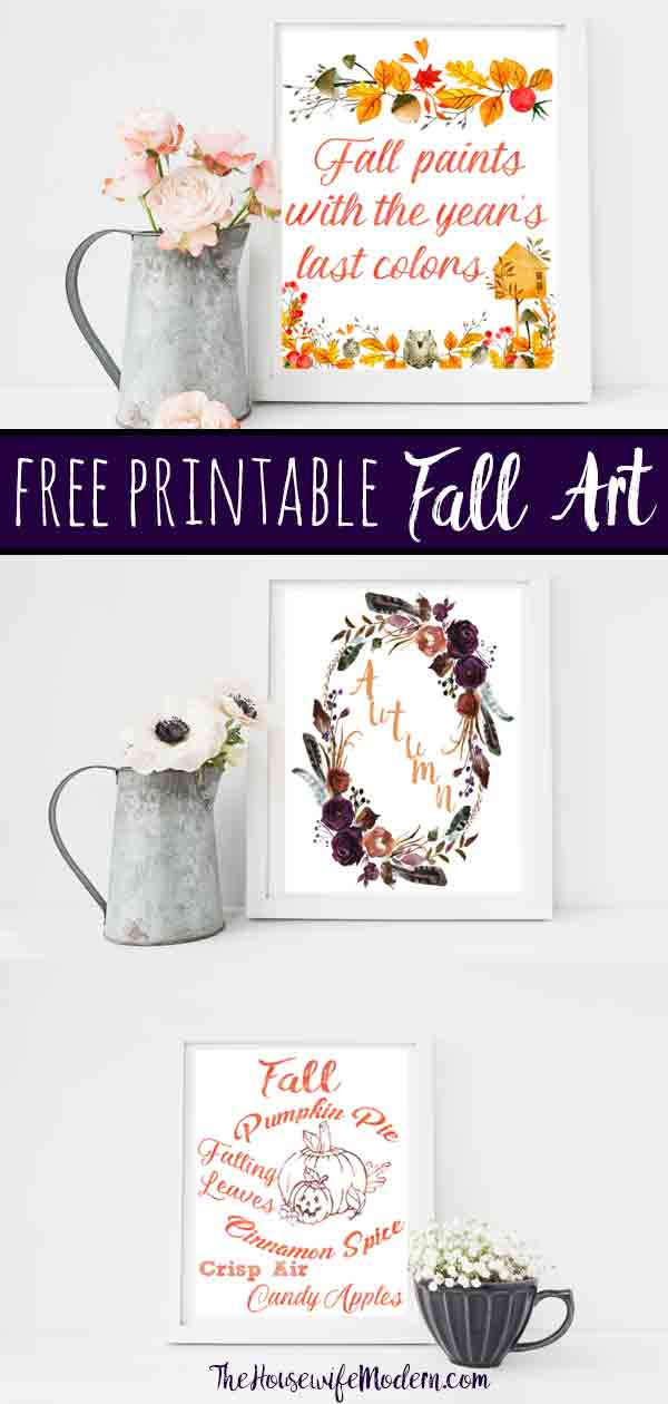 Free Printable Fall Wall Art. 3 free fall wall art printable designs to decorate your home or office. Celebrate autumn! #free #printable #freeprintable #fall #autumn #wallart #fallart #autumnart