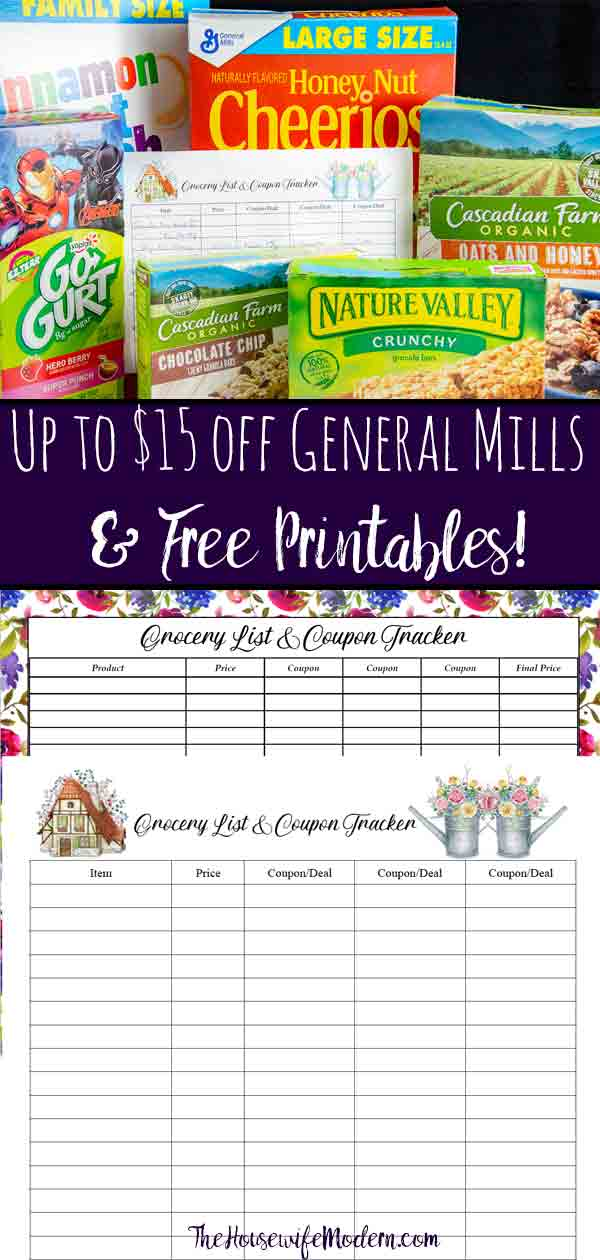 Free Printable Grocery List and Coupon Tracker. And a great deal to write on it! Up to $15 in Back-to-Digital Coupon Savings on General Mills products. #free #freeprintable #StockUpBTS #CollectiveBias #Publix #ad