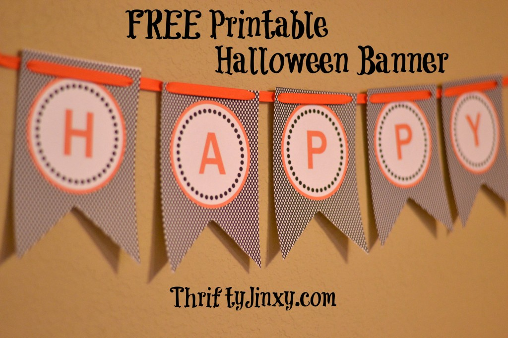 Free Printable Halloween Banner. Part of Free Halloween Printables Round-up: Over 100 Free Printables.