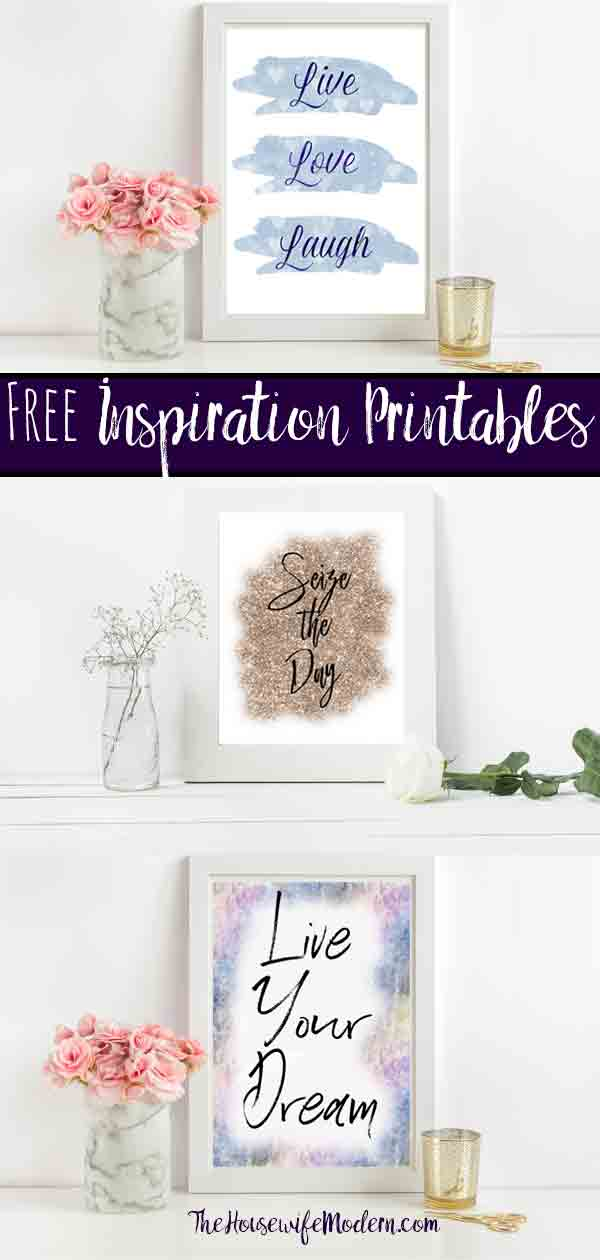 Free Inspirational Printables. 4 Designs. Live, Love, Laugh. Seize the Day. Live Your Dream. And Seize Every Moment. 4 free printables to provide inspiration. #free #freeprintable #inspiration #inspirationprintable