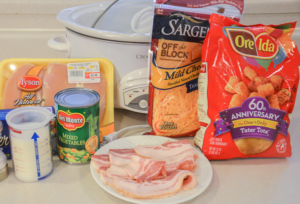 Ingredients: easy as can be. Fry up bacon first.