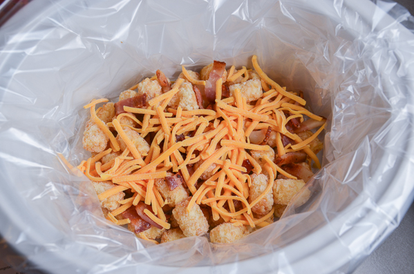 Layer 1/2 of tater tots. Layer 1/3 bacon & cheese.