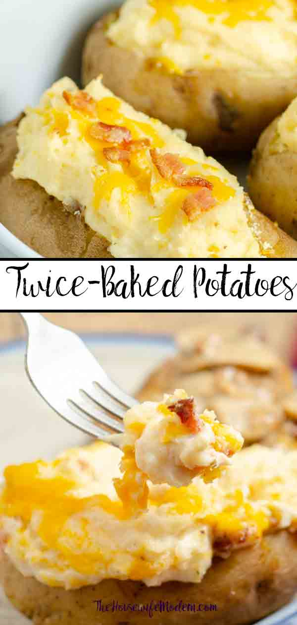 Twice-Baked Potatoes. Creamy, cheesy, delicious side dish that can be made in advance! Potatoes mixed with cheese, butter, sour cream, cream cheese, and bacon. #potatoes #twicebakedpotatoes #sidedish #bacon #cheese
