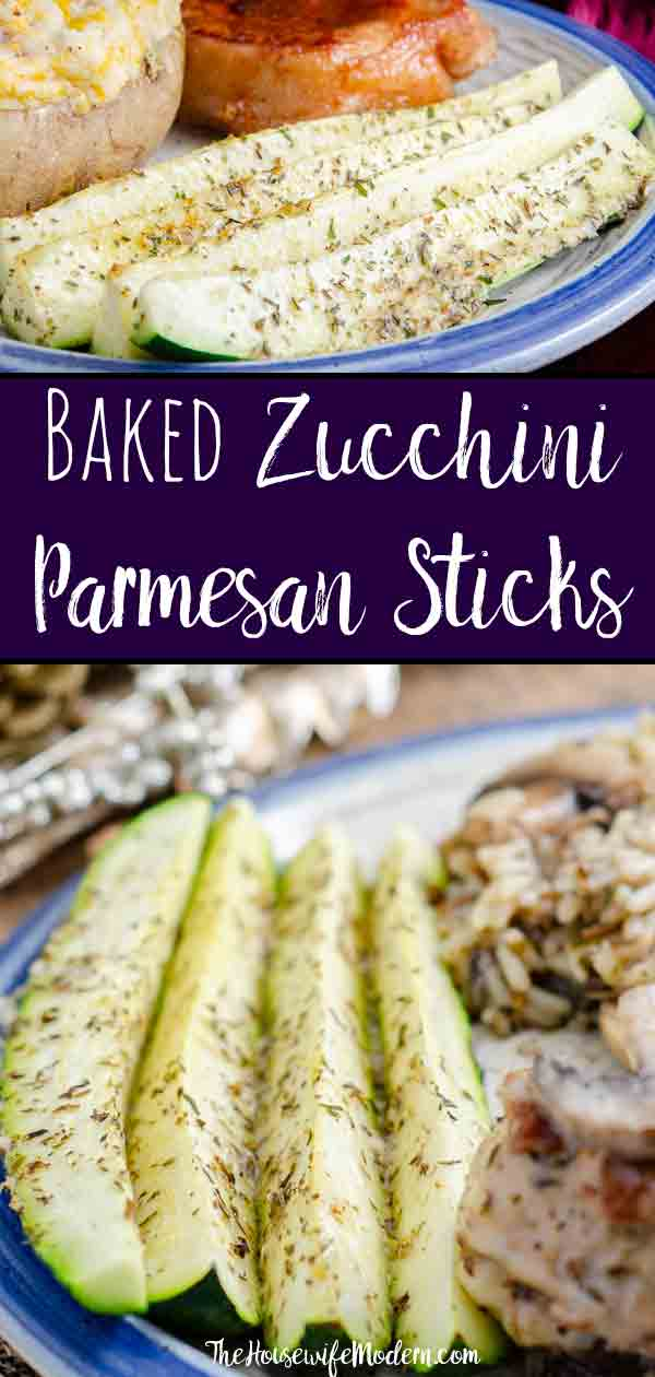 Baked Zucchini Parmesan Sticks. Easy, healthy, versatile side dish. Zucchini sprinkled with Parmesan and seasoning, then baked to perfect crisp-tenderness. #zucchini #parmesan #sidedish
