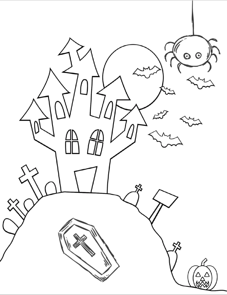 Spooky house on a hill. Free printable halloween coloring pages for kids. 5 designs to choose from! Spooky houses, ghosts, pumpkins, and fall-theme from easy to a little more difficult.