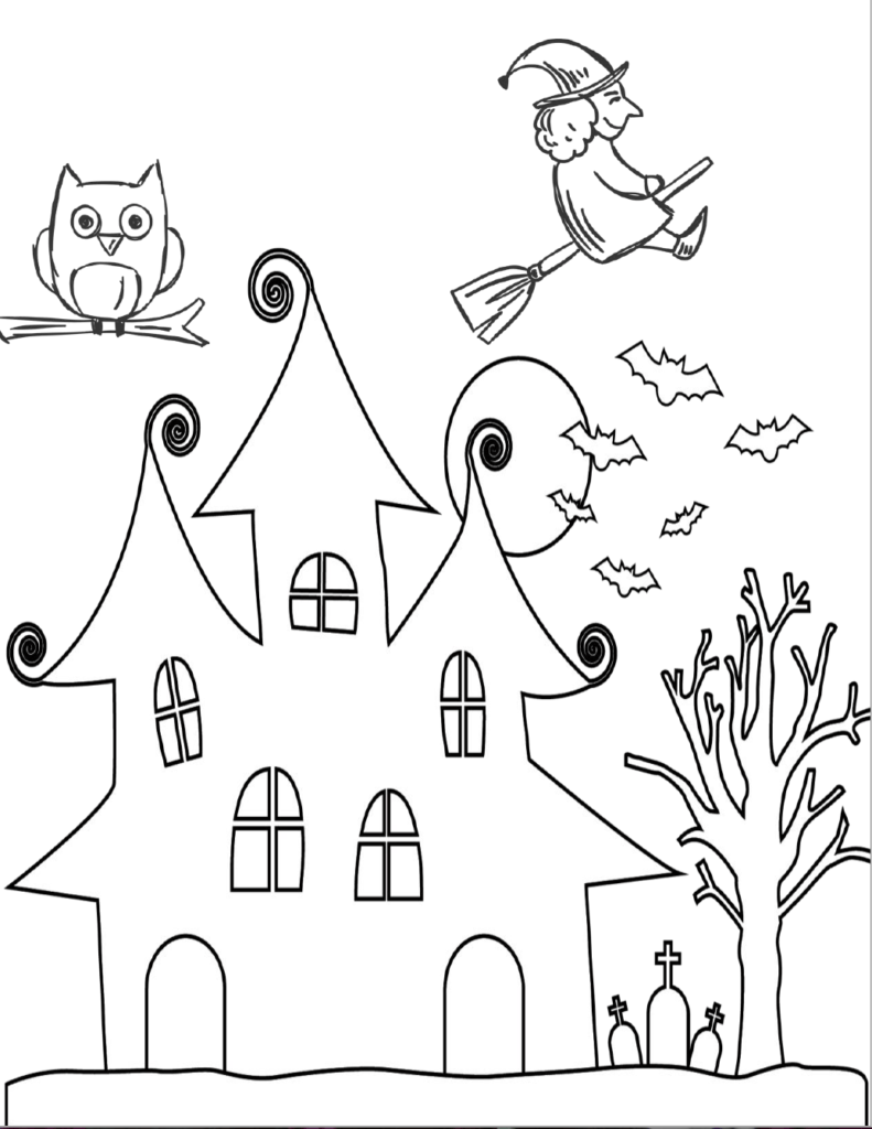 Spooky house with flying witch. Free printable halloween coloring pages for kids. 5 designs to choose from! Spooky houses, ghosts, pumpkins, and fall-theme from easy to a little more difficult.