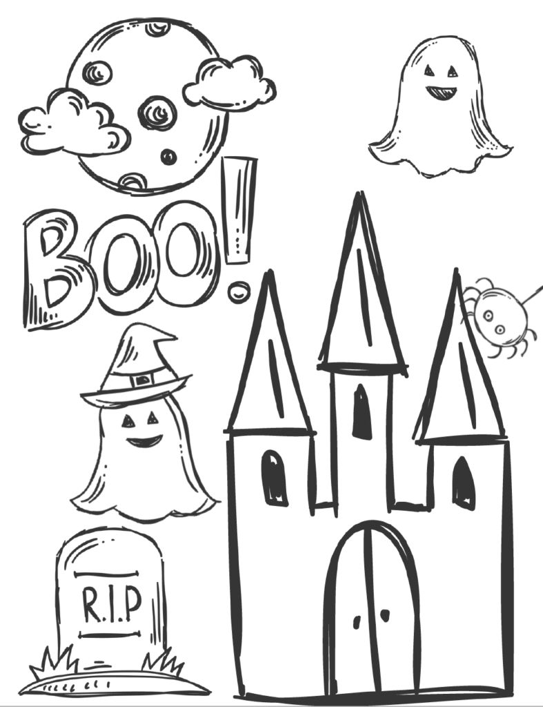 House, ghosts, gravestone, and Boo! Free printable halloween coloring pages for kids. 5 designs to choose from! Spooky houses, ghosts, pumpkins, and fall-theme from easy to a little more difficult.