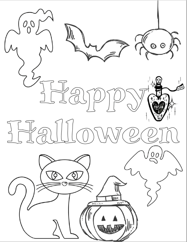 Halloween cat, pumpkin, ghosts, bat, and more. Free printable halloween coloring pages for kids.