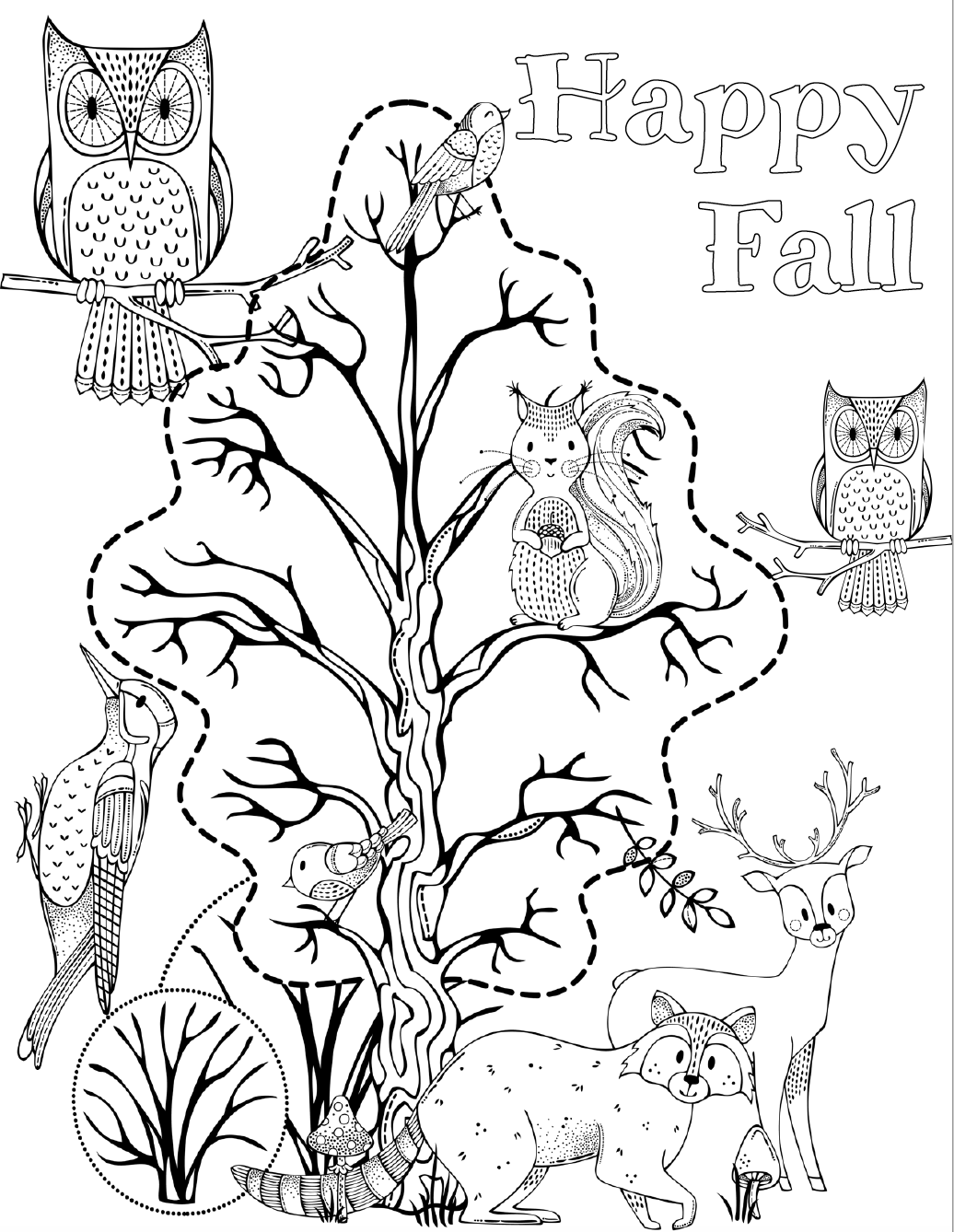 Happy fall with woodland animals. Free printable halloween coloring pages for kids. 5 designs to choose from! Spooky houses, ghosts, pumpkins, and fall-theme from easy to a little more difficult. #free #printable #freeprintable #halloween #coloring #halloweencoloring #freecoloring