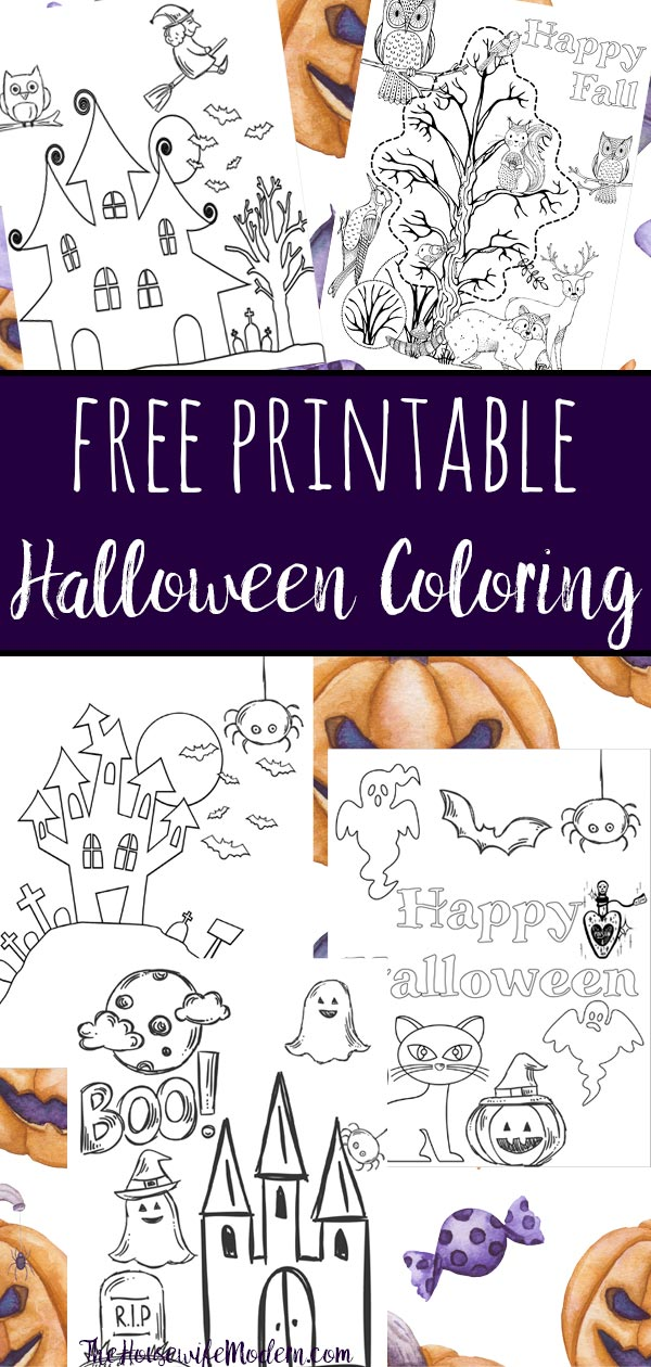 Free printable halloween coloring pages for kids. 5 designs to choose from! Spooky houses, ghosts, pumpkins, and fall-theme from easy to a little more difficult. #free #printable #freeprintable #halloween #coloring #halloweencoloring #freecoloring