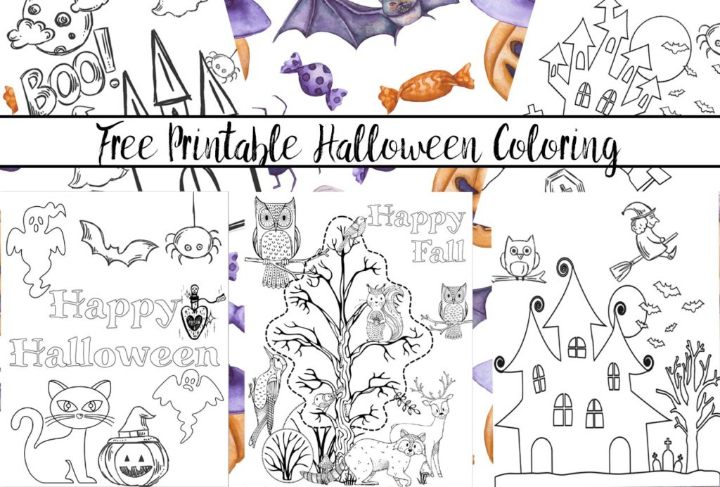 Free printable halloween coloring pages for kids. 5 designs to choose from! Spooky houses, ghosts, pumpkins, and fall-theme from easy to a little more difficult.