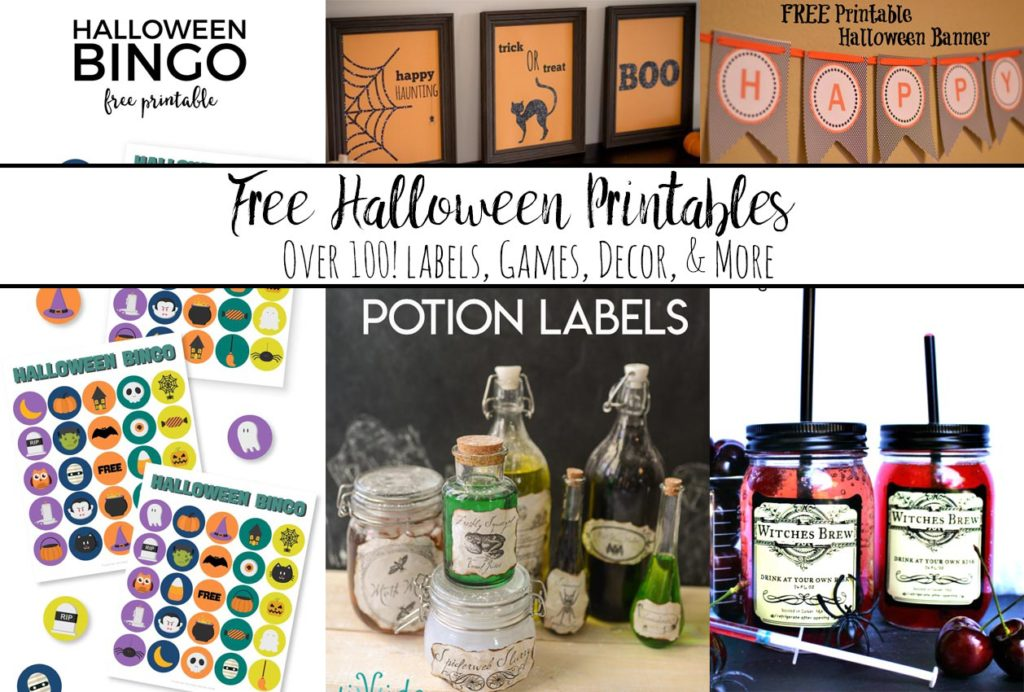 Free Halloween Printable Round-up. Over 100 free printables. Halloween decor, activities, food, labels, decorations, drinks, and more!