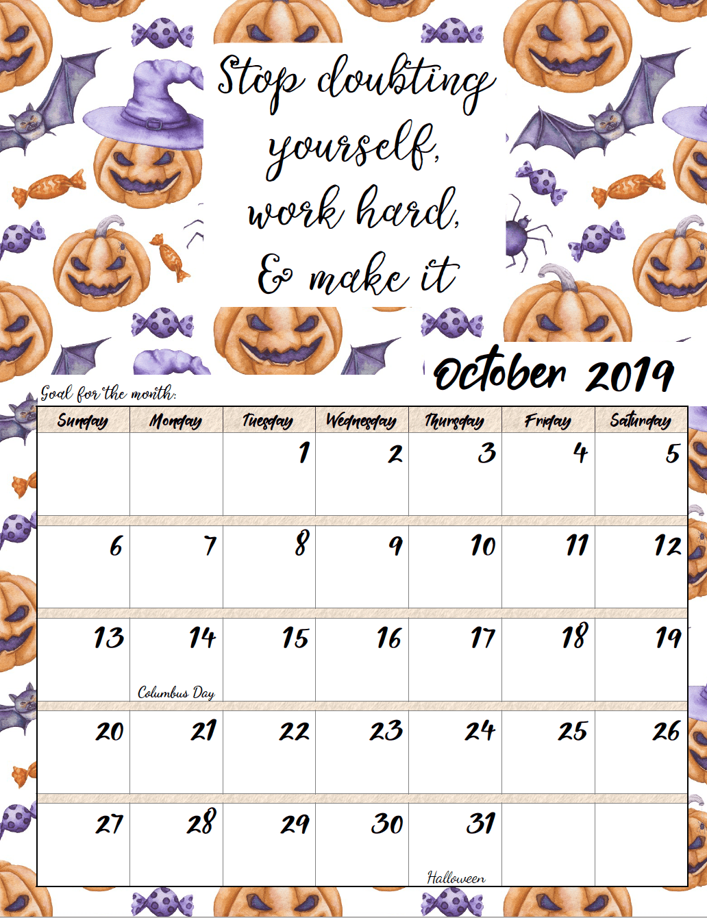 photograph about Free Printable Motivational Quotes named Totally free Printable 2019 Month to month Motivational Calendars