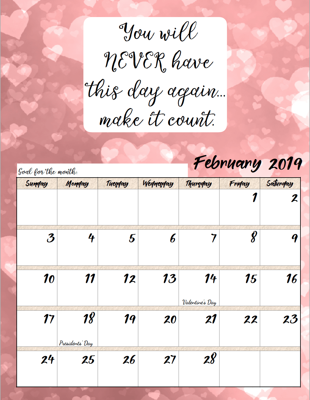 February. FREE Printable 2019 Monthly Motivational Calendars. Space for setting goals, different motivational quote each month, holidays marked. #free #freeprintable #printable #calendar #motivation