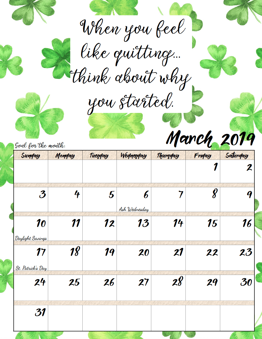 March. FREE Printable 2019 Monthly Motivational Calendars. Space for setting goals, different motivational quote each month, holidays marked. #free #freeprintable #printable #calendar #motivation