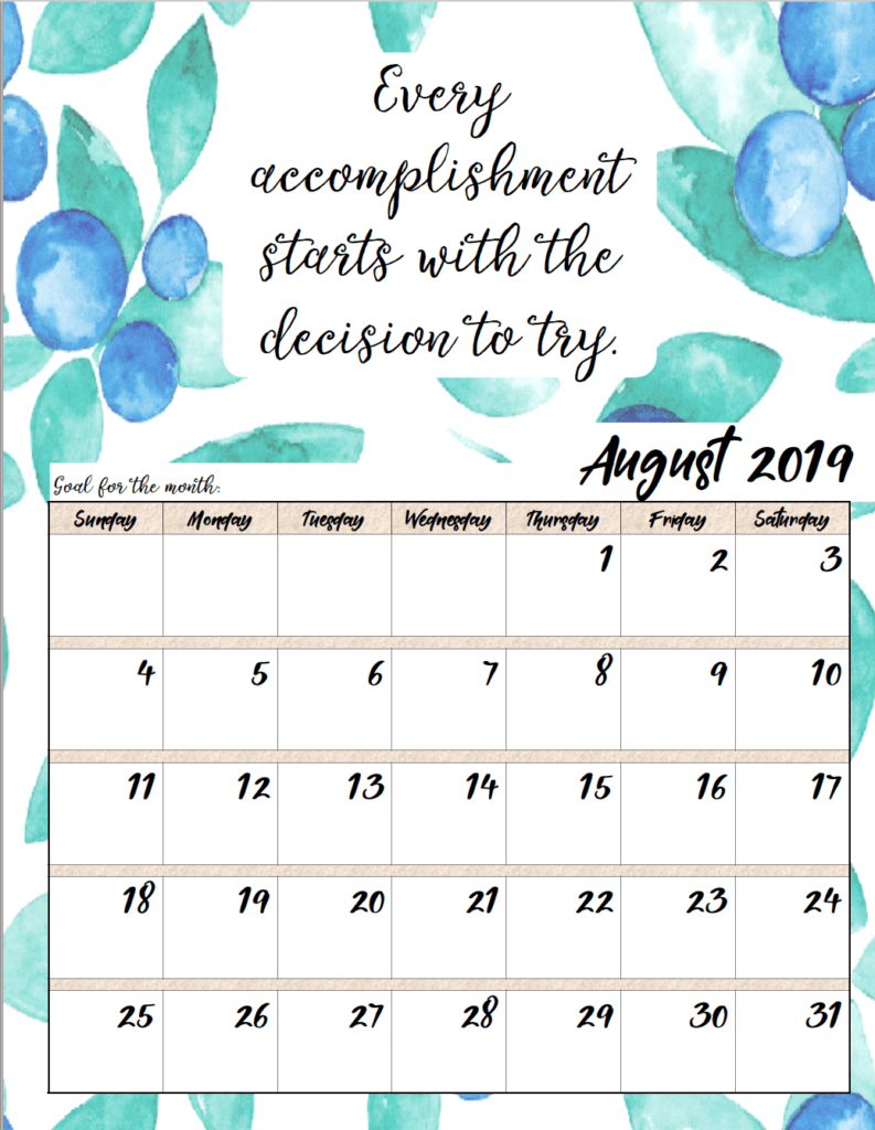 August. FREE Printable 2019 Monthly Motivational Calendars. Space for setting goals, different motivational quote each month, holidays marked. #free #freeprintable #printable #calendar #motivation
