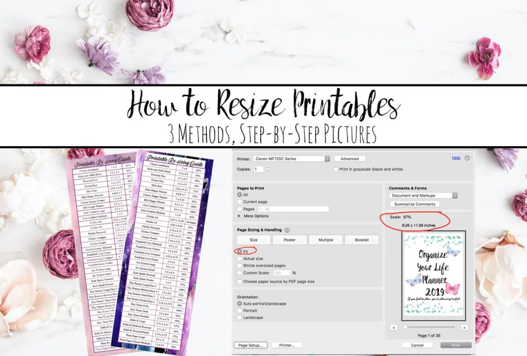 How to Resize Printables to Fit Your Planner
