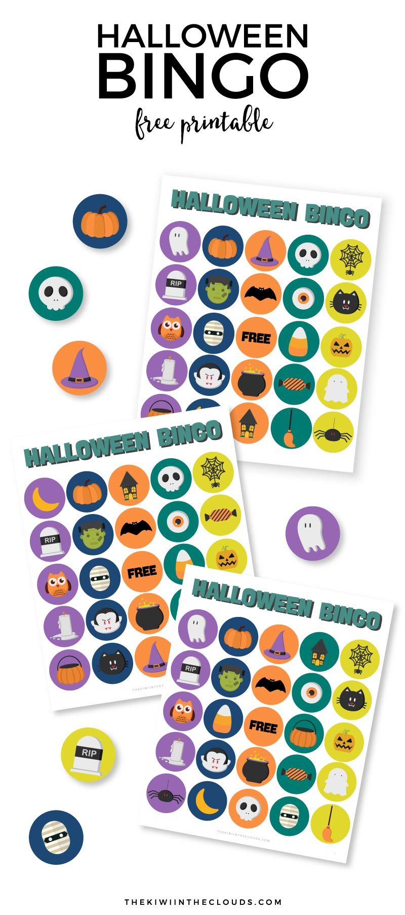 Free Halloween Bingo. Part of Free Halloween Printables Round-up: Over 100 Free Printables.