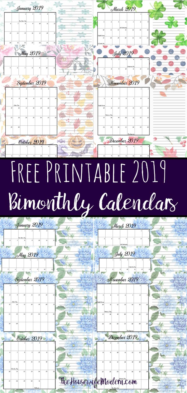 FREE Printable 2019 Bimonthly Calendars. Space for notes, holidays marked. 2 different designs! #free #freeprintable #printable #calendar #freecalendar #bimonthly #freeprintablecalendar