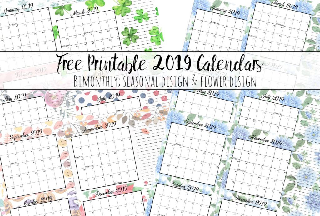 FREE Printable 2019 Bimonthly Calendars. Space for notes, holidays marked. 2 different designs!