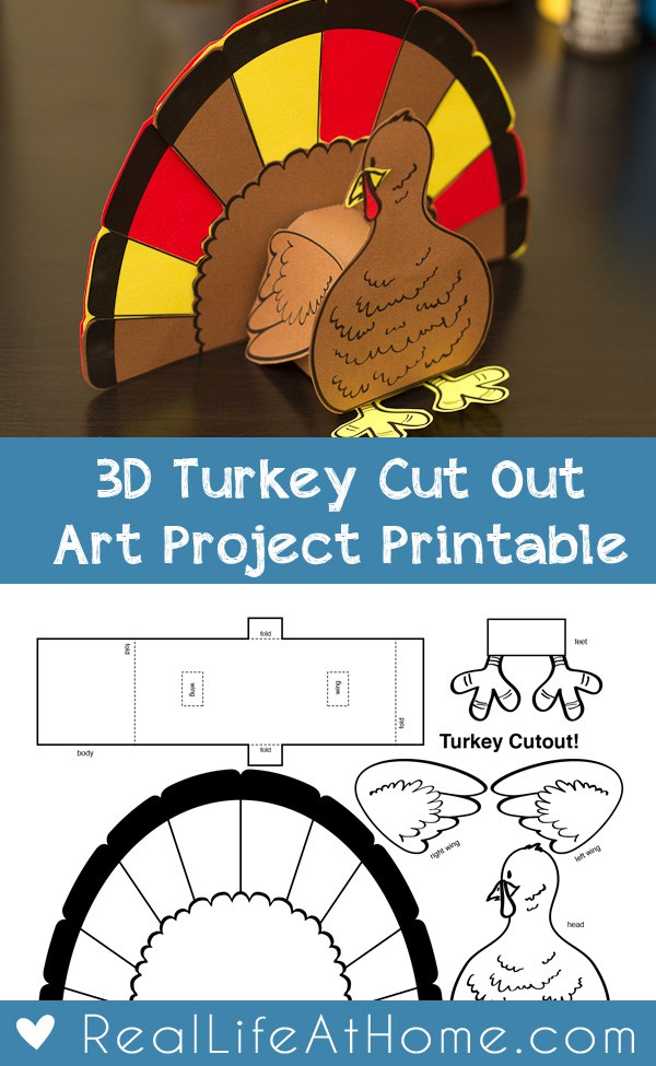 3D Turkey Cutout Art Project. Part of Free Thanksgiving Printables Round-Up. Over 50 free Thanksgiving printables including decor, planners, labels, food decoration, and more! #thanksgiving #free #printable #freeprintable #thanksgivingprintable